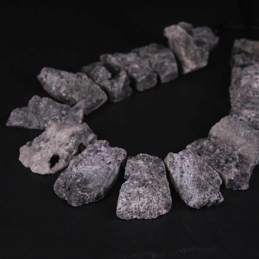 """15.5 """"/ストランド最高掘削黒チタンアメジストの Geode 台形スラブナゲット、不規則な Druzy Drusy スライスペンダントチャーム宝石"""