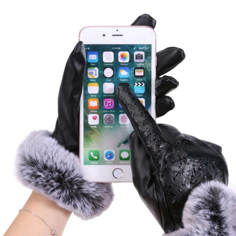 Winter Women PU Warm Full Finger Gloves Touch Screen Fleece Outdoor Gloves Fashionable Charm Ladies Imitation Leather Gloves