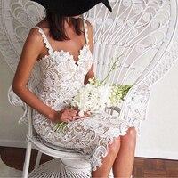2017 Fashion Designer White Balck Party Dress Women Sexy Sleeveless Lace Crochet Hollow Out Slim Spaghetti