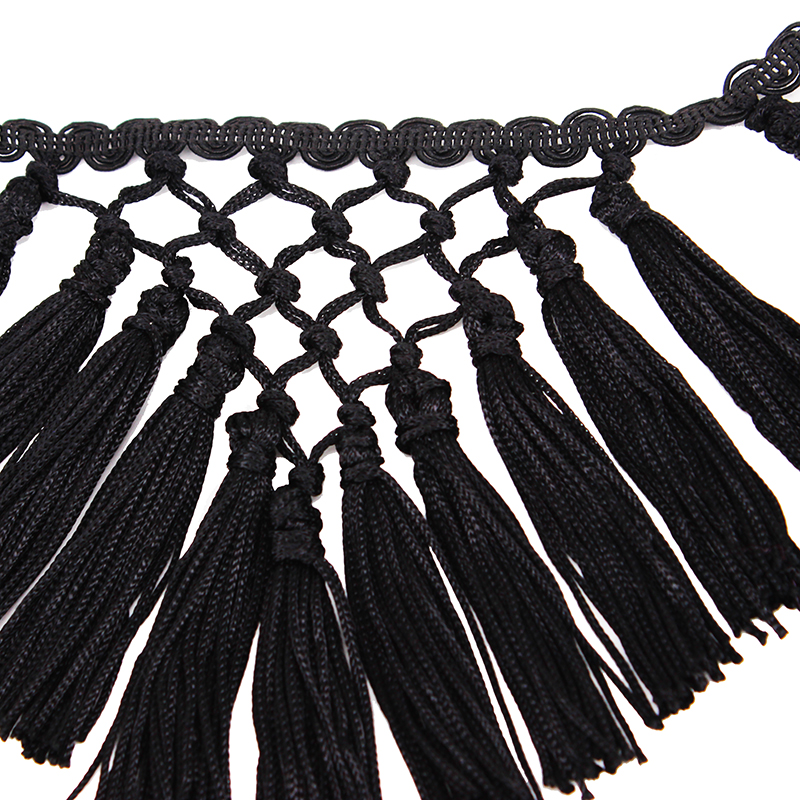 5yard Black Braided Fringe Tassel Trimming Venice Lace Ribbon Trim Applique Trimming Sew on for Latin