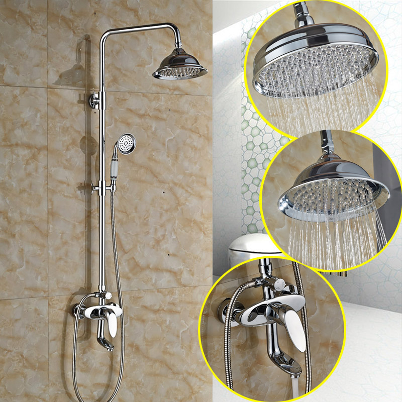 Single Handle 8 Rain Shower Head Bath Shower Faucet Wall Mounted Shower Column with Tub Spout with Brass Hand Shower