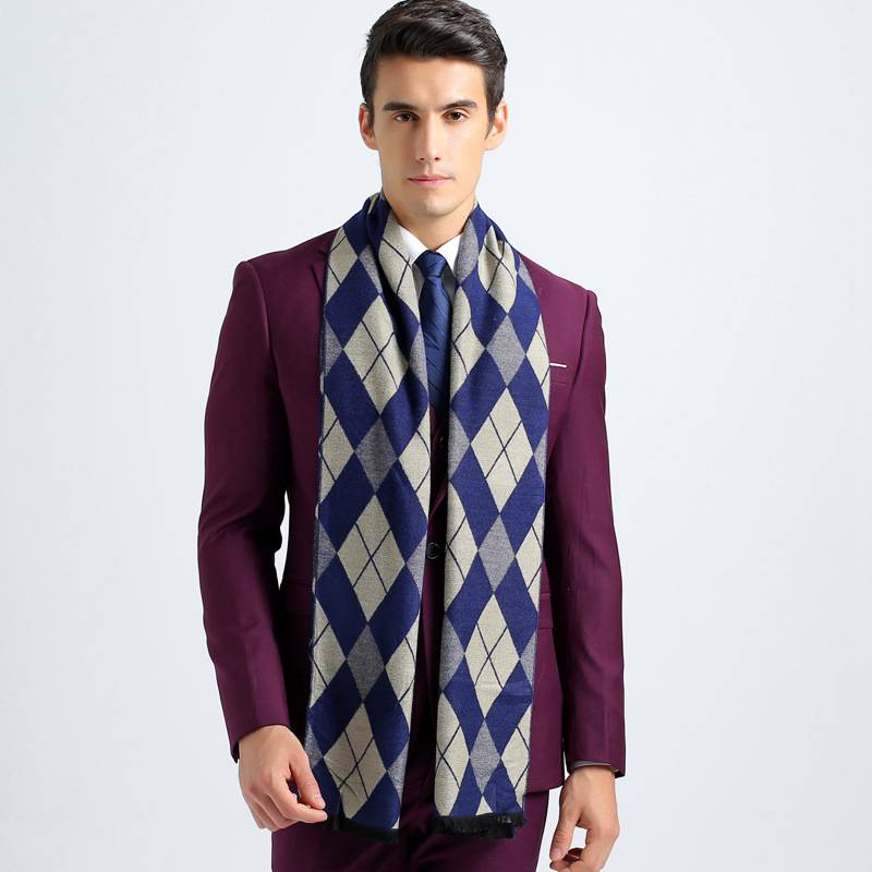 Fashion Rhombus Foulard Men Scarf Luxury Brand Winter Cotton font b Tartan b font Business Scarves