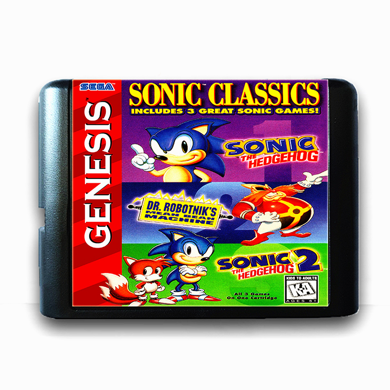 Sonic Classics 16 bit Sega MD Game Card for Mega Drive for Genesis