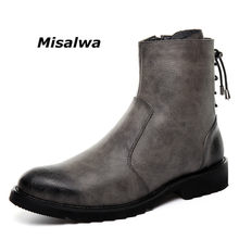 Misalwa Rits Lederen Mannen Enkellaars Mode Winter Chelsea Snowboots Back Side Lace-up Formele Oxford Jurk Laarzen(China)