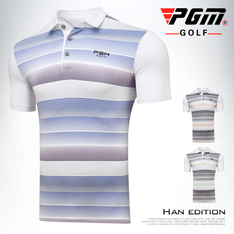 PGM 2018 New Mens Short Sleeve Golf T-shirt Summer Sportswear elastic Breathable quick-drying striped Golf POLO shirts
