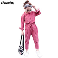 Autumn Teenage girls Clothing Set 10 11 12 Years Fashion Pink Corduroy Blouse+Pants Children Vintage Brown Sport Suit For Girls
