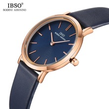 IBSO Women's Wrist Watch Ultra-Thin Quartz Simple Causal Female Clock Watches Montre Femme Leather Strap Watch Relogio Feminino relogio feminino king and queen chess couple watch women delicate leather strap wrist watch quartz dress watch montre homme