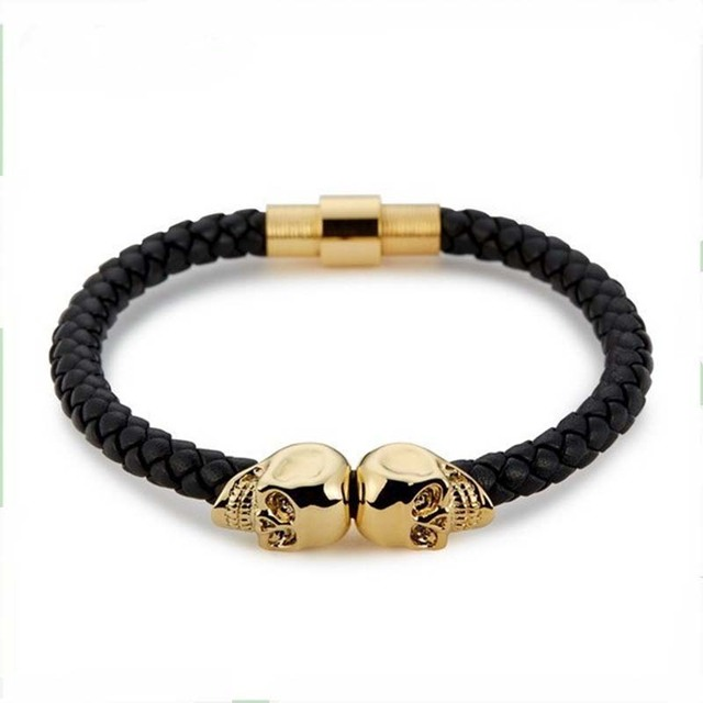 Latest Punk Genuine Stainless Steel Leather Bracelet For Man Women Twins Double Skull With