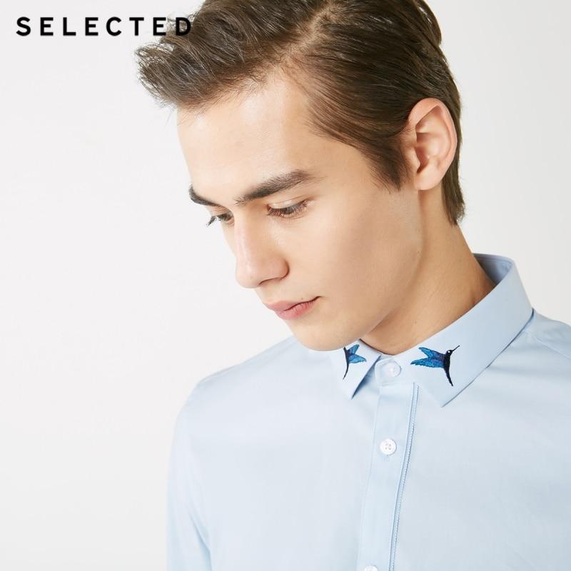 Hombres elegidos colibrí de bordado Slim Fit camisa de manga larga S  419105522 -in Camisas casuales from Ropa de hombre    1