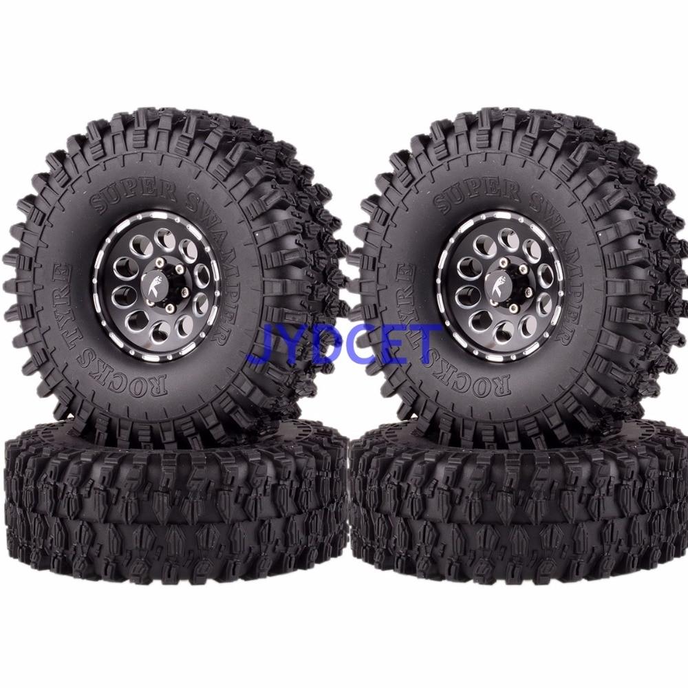 4P 1.9 Wheel/Rim & 120MM Super Swamper Tyre 1064-7037 For 1/10 RC Rock Crawler mxfans 4 x rc1 10 rock crawler black alloy 7 spoke wheel rim simulation rubber tyre