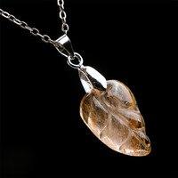 Genuine Brazil Yellow Golden Natural Rutilated Quartz Crystal Teardrop Water Drop Bead Necklace Charms Pendants 21
