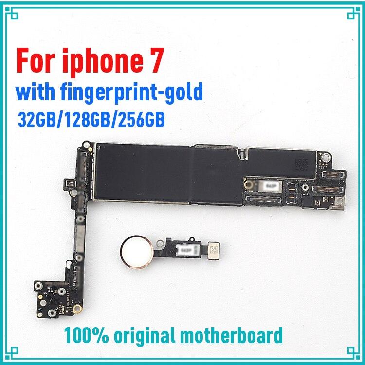 Motherboard für iphone 7 4.7 zoll bord 32 gb 128 gb 256 gb mit touch ID Schwarz Weiß Gold MB Logic boards voll chips Kostenloser versand