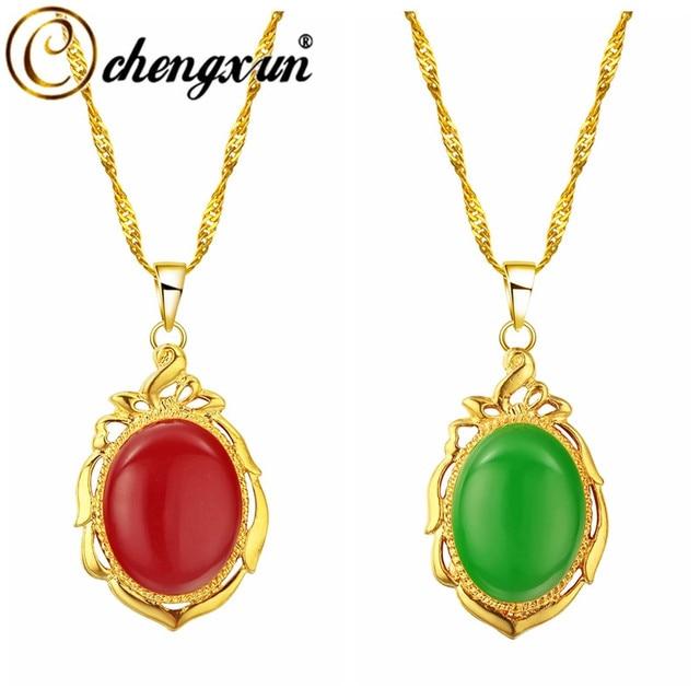 CHENGXUN Red Enamel Pendant Necklace Women Oval Large Round Stone Statement  Necklace Men Long Chain Gold Necklace f828fd496e64
