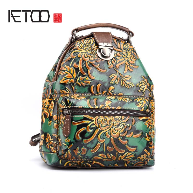 AETOO New Women Floral Printing Backpack Genuine Leather Female Bags Vintage Design Laptop School Bag mochila escolar цена