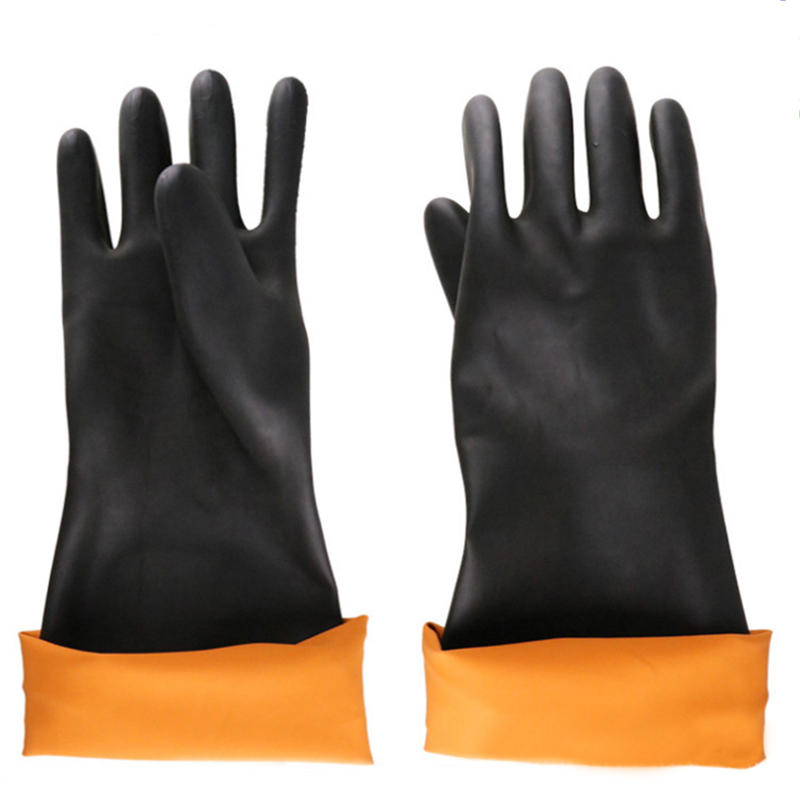FGHGF Latex Industrial Rubber Gloves Acid and Alkali Resistant Anti-corrosion Black Workplace Safety Protective Glove Black 50pcs disposable safety protective latex for home cleaning industria rubber long female kitchen wash dishes garden work gloves a