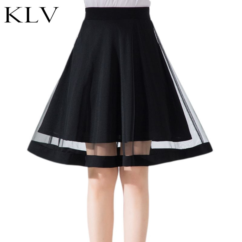 Womens Summer High Waist Pleated Swing Knee Length Tutu Skirt Sheer Mesh Patchwork Solid Black Color Lined Dance Party Petticoat