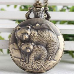 Ретро Винтаж медведь из бронзы Кун кварцевые карманные часы аналоговый кулон цепочки и ожерелья для мужчин для женщин часы цепи детский