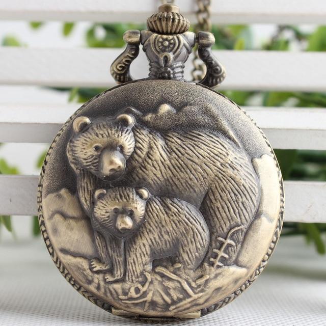 Retro Vintage Bronze Bear Coon Quartz Pocket Watch Analog Pendant Necklace Men W