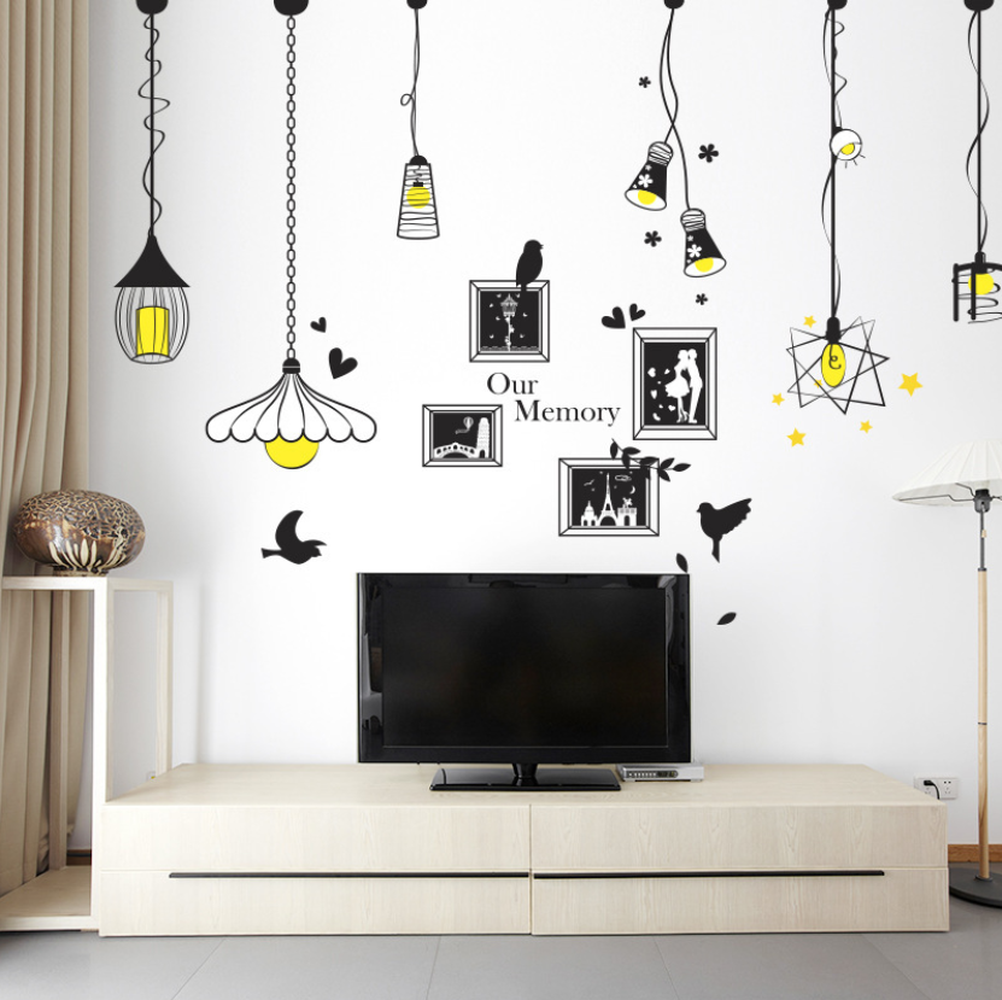 Image 2 - Creative Chandelier Photo Wall Sticker Bedroom Living Room Porch Background Decoration Sticker For Wall Decorations Living Room-in Wall Stickers from Home & Garden