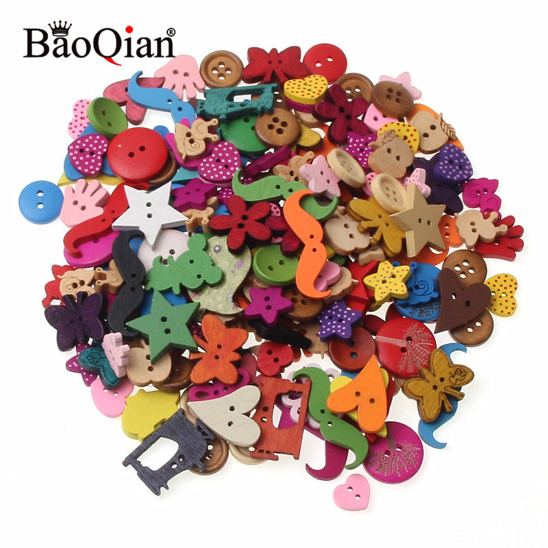 20/50/100pcs Mixed Multicolor Wood Sewing Buttons For Kids Clothes Scrapbooking Decorative Botones Needlework Diy Accessories An Enriches And Nutrient For The Liver And Kidney