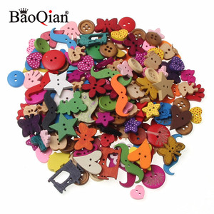 20/50/100Pcs Mixed Multicolor Wood Sewing Buttons For Kids Clothes Scrapbooking Decorative Botones Needlework DIY Accessories