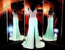 Vestido Longo Kalk Grüne Kristalle Abendkleider Party-elegante Heißer Verkauf Modische Abschlussball-kleider 2015 Schnelles Verschiffen