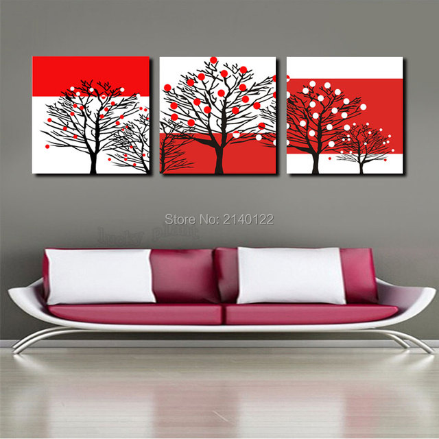 New Abstract Drawing 3pcs Framed Modern Art Trees New Canvas HD ...