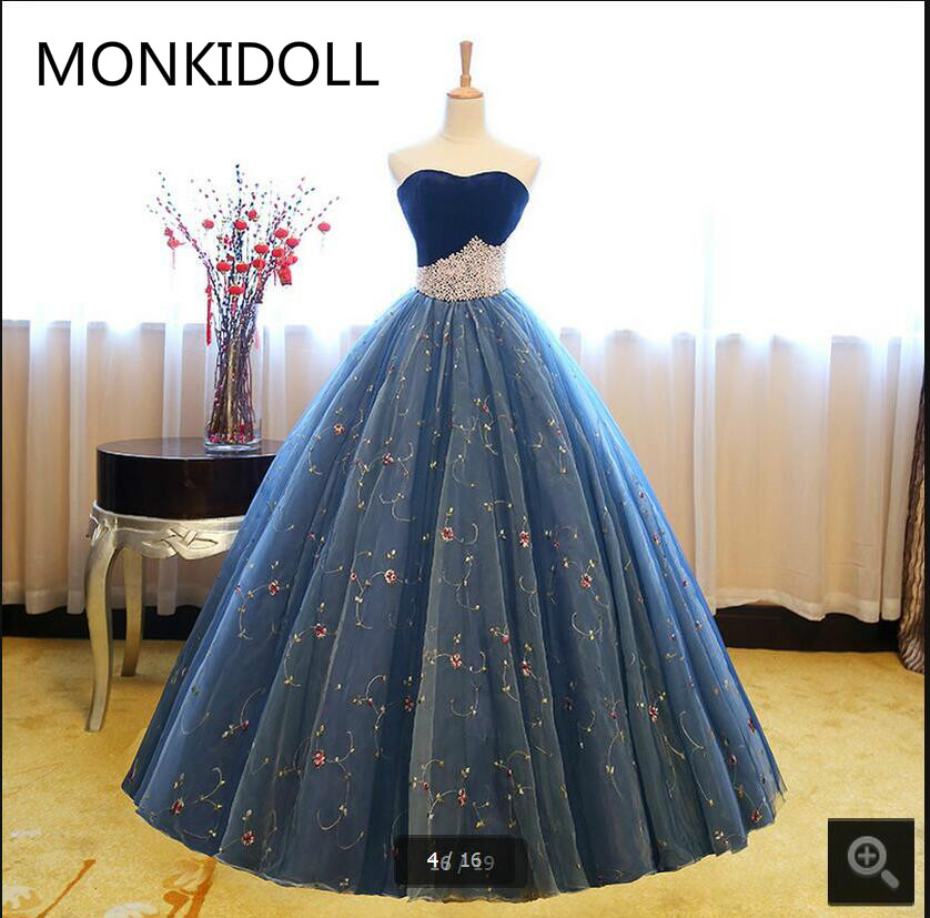 2017 Vestido De Festa real lace   prom     dresses   velvet ball gown princess pearls puffy   prom   gowns floor length   prom     dress   on sale