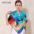 100% Natural Silk Praça Cachecóis Moda Impresso Mulheres Scarf Shawl Upscale Tamanho Grande Protetor Solar Feminino Lenço Xales FJ110F