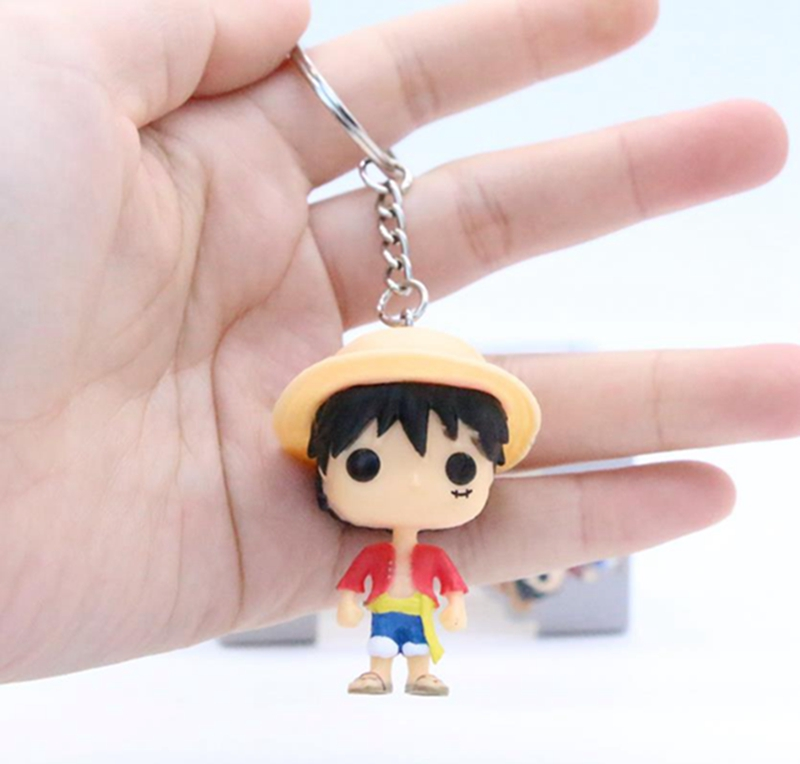 Anime <font><b>One</b></font> <font><b>Piece</b></font> Trafalgar Law Monkey D <font><b>Luffy</b></font> Key Chain Cute Kwaii Vinyl Figure Collection Model Toys image