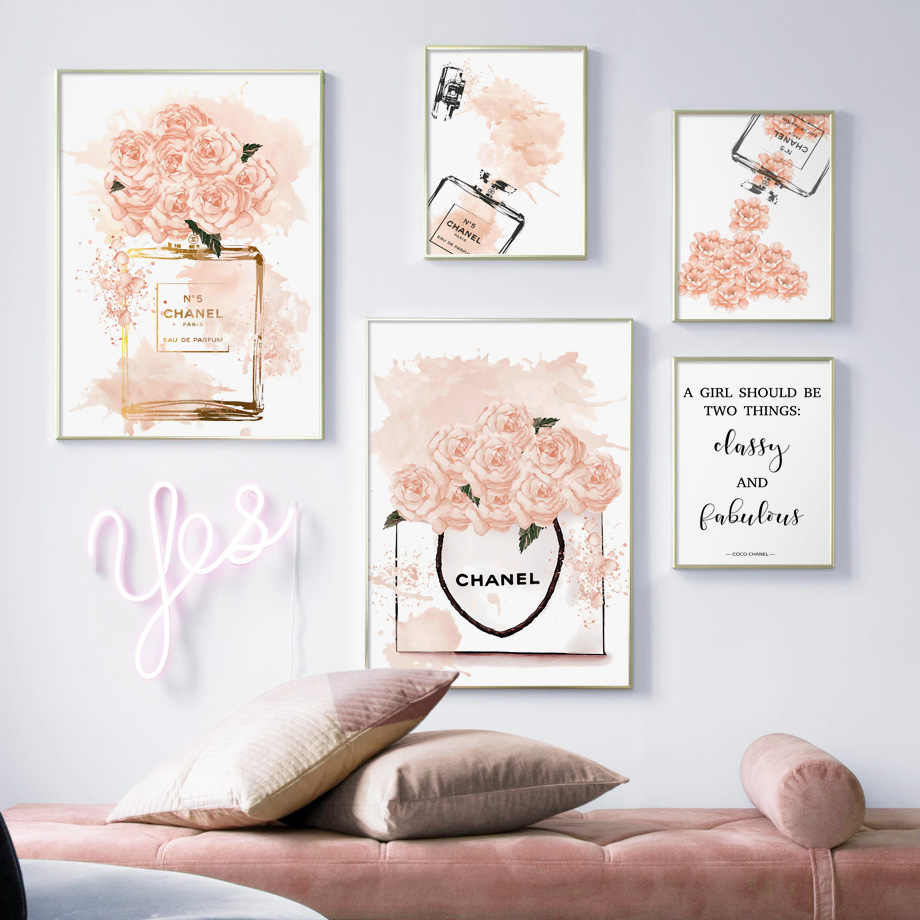 e0ef381461204a Watercolor Perfume Peony Flower Quotes Wall Art Canvas Painting Nordic  Posters And Prints Wall Pictures For
