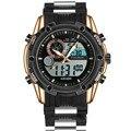 Marca de luxo Homens Esportes Relógios Dual Display Analógico Digital LED Eletrônico relógios de Pulso de Quartzo Militar Relógio À Prova D' Água relojes