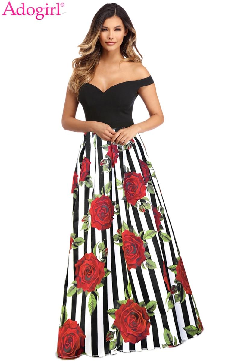 ae9526ed971 Adogirl в полоску с цветочным принтом Вечернее Платье макси с открытыми  плечами вырезом сердечком лиф Flare