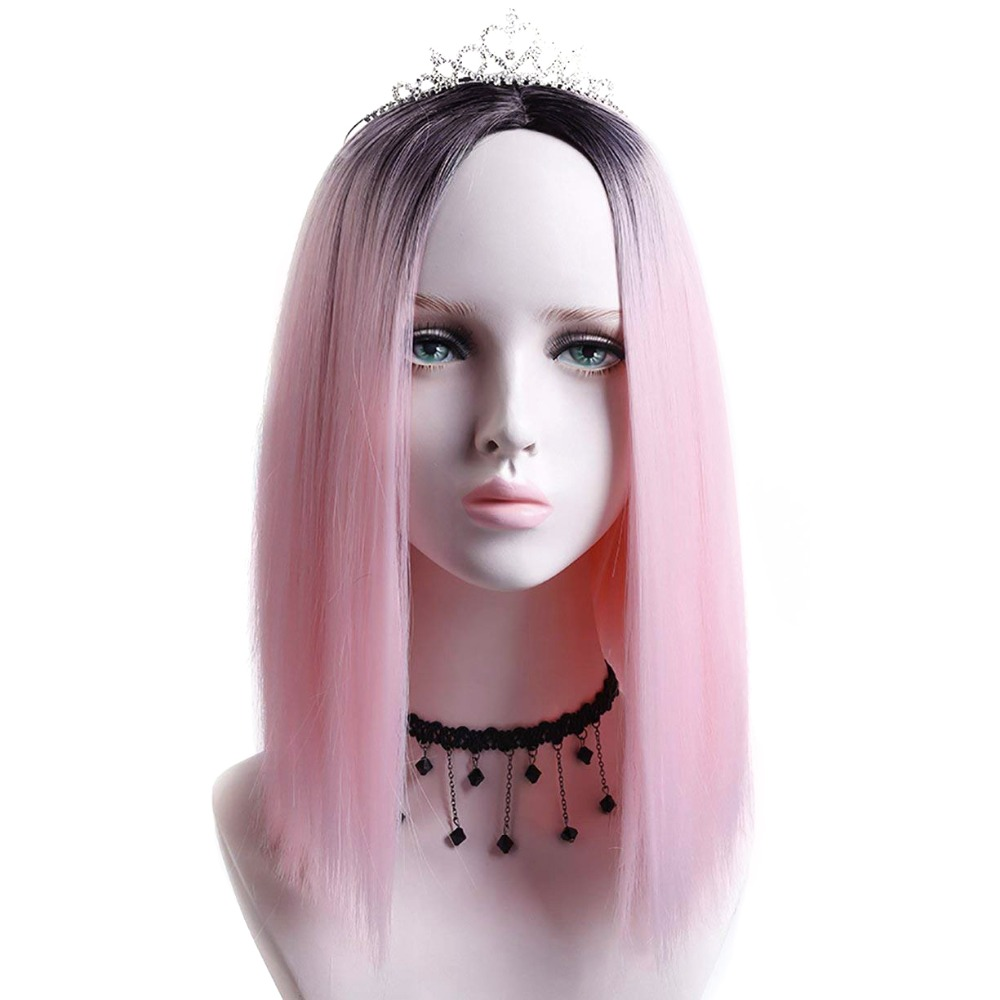 Pageup Ombre Bob Synthetic Wigs For Women African American Ladies High Temperature Fiber Heat Resistant Short Cosplay Pink Wig (5)