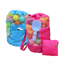 Foldable Beach Toy Bag Sand Away Beach Storage Pouch Tote Mesh Bag Travel Toy Organizer Sundries Net Drawstring Storage Backpack