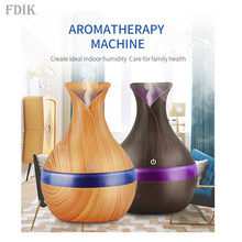300ml USB Air humidifier ultrasonic aroma oil Diffuser strong mist maker wood grain with 7 colors LED night light for home offic(China)