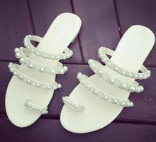 Free Shipping!!!     women's shoes 2016 Spring European and American women pearl  sets toe  flat sandals and slippers flip shoes