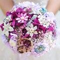 Моделирование пурпурная гортензия букет, Винограда свадебное брошь букет, Пользовательских кристалл jewelery букет