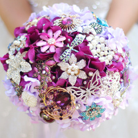 Simulation purple hydrangea bridal bouquet, grape wedding bride's brooch bouquet, Custom crystal jewelery Bouquet