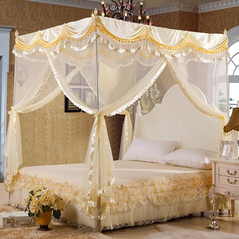 Byetee High Quality Mosquito Net Bed Canopy Curtains Palace Mosquito Net  Three Door Luxury Bed Canopy With Stainless Steel Frame