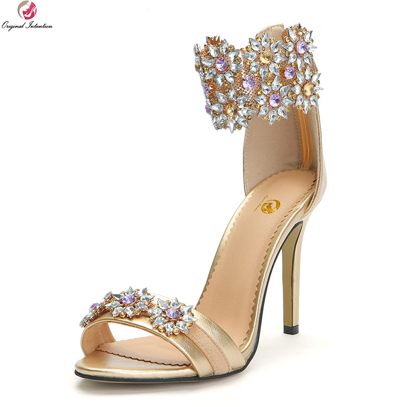 Original Intention New Elegant Women Sandals Gorgeous Open Toe Thin High Heels Sandals Gold Shoes Woman Plus US Size 4-15 original intention 2018 super elegant women sandals nice open toe chunky heels sandals beautiful shoes woman plus us size 4 15