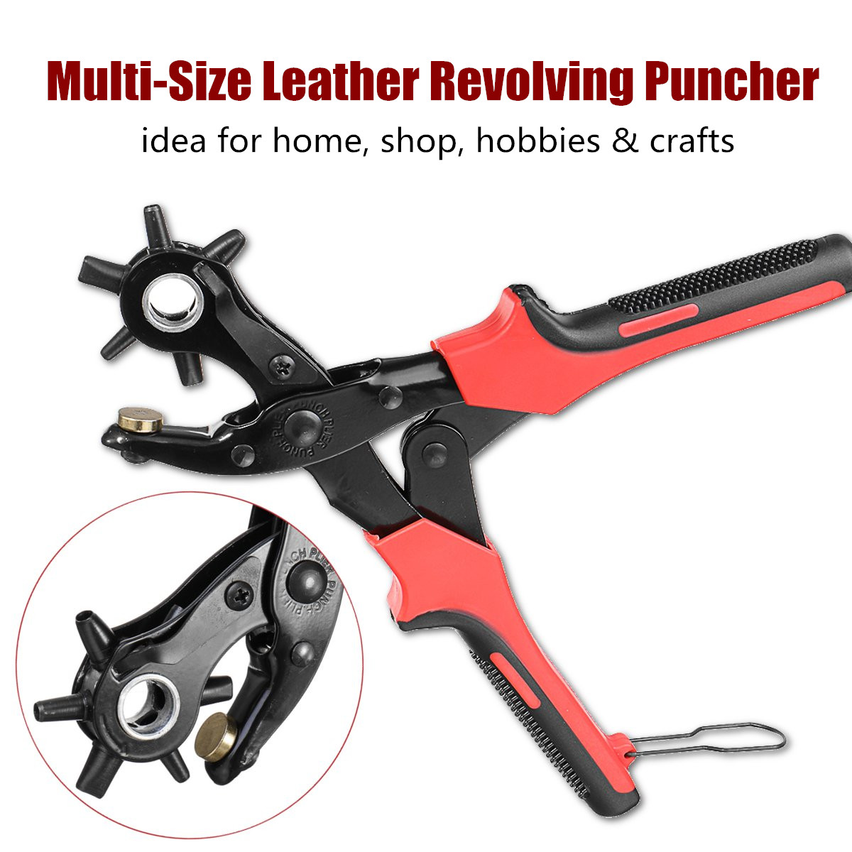 10 Inch DIY Leather Hole Punch Belt Revolving Puncher Eyelet Hole Hand Pliers Craft Tools Fabrics Sewing Puncher Strap Machine