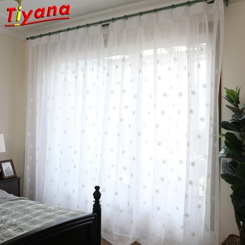 Luxury White Window Curtain Fabrics Sheer Christmas Snowflake Embroidery Tulle For Living Room Curtains For Bedroom WP157-40