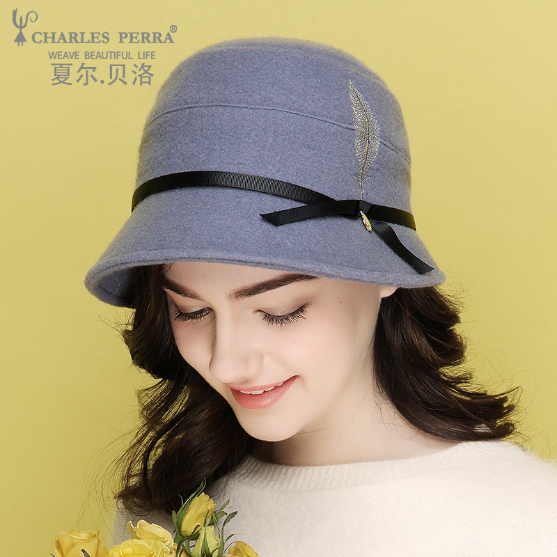 Charles Perra Brand Women's Hat Cap Autumn New Wool Blend Embroidery Fashion Elegant Keep Warm Lady Bucket Hats 4268