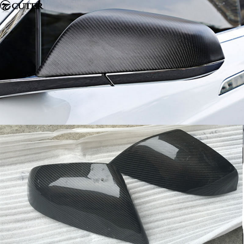 Model X replacement Carbon Fiber Side Mirror Covers Auto Car Mirror Caps For Tesla MODEL X free shipping