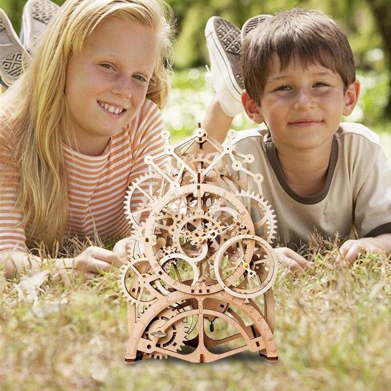 Robotime DIY деревянный Винтаж стол МАЯТНИК Часы Декоративные механические шестерни ремесла дома аксессуары для детской комнаты LK501