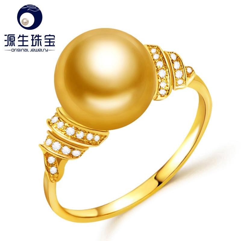 [YS] 18K Gold Engagement Ring 10-11mm Golden South Sea Pearl Ring недорго, оригинальная цена