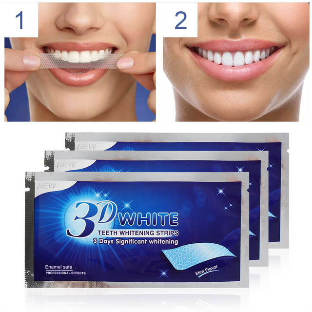 SWT 10Pcs/5Pair 3D White Gel Teeth Whitening Strips Oral Hygiene Care Double Elastic