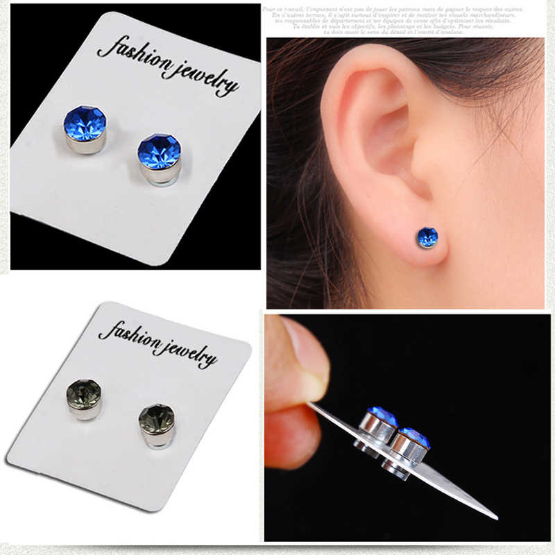 Crystal Magnetic Stud Earring Fake Magnet Nose Ear Lip Stud Non Piercing Tragus Nose Stud 8 Pairs Pack