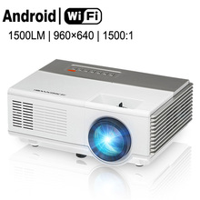 CAIWEI 1500lm 1080p HD LED Mini Projector Portable WiFi Android Home Movie Video AV HDMI PC Smartphone Projectors for Kids